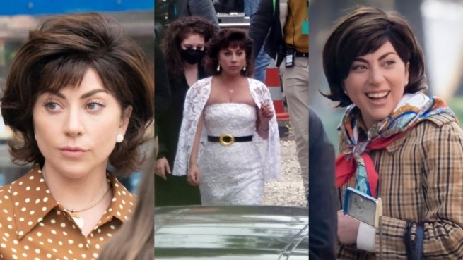Lady Gaga on the House of Gucci set