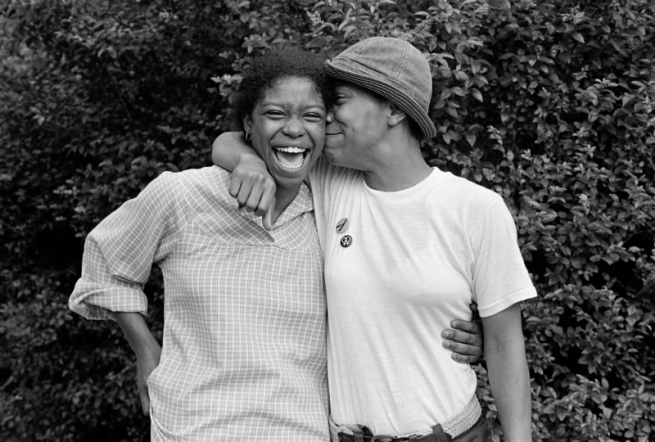 "Gloria and Charmaine, Baltimore, Maryland, 1979 from 'Eye to Eye: Portraits of Lesbians"" by JEB (Joan E. Biren), 1979."
