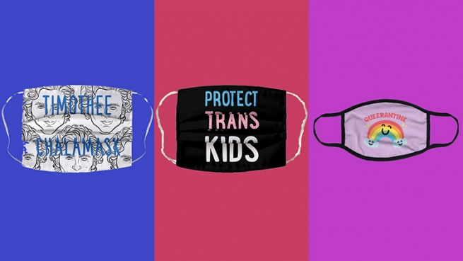 an lgtbt rainbow quarantine face mask, a face mask that says timothy chalamet, and a black mask that says protect trans kids