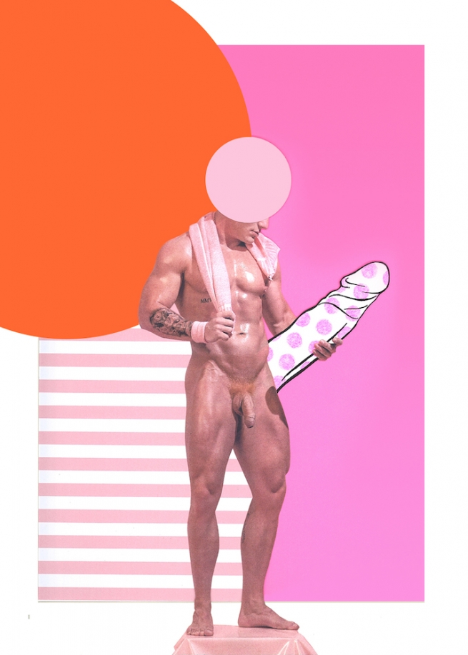 A collage featuring a headless male figure holding a cut out of a penis.