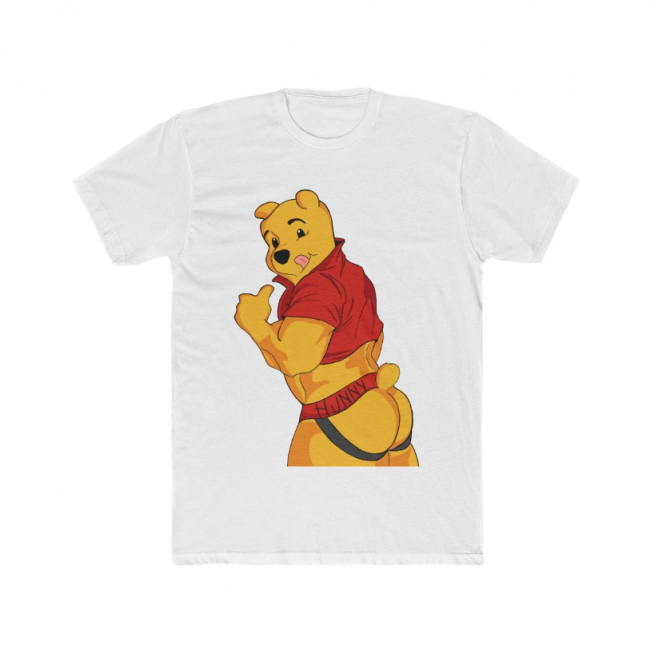 Winnie the Pooh in a crop top and jockstrap from behind.