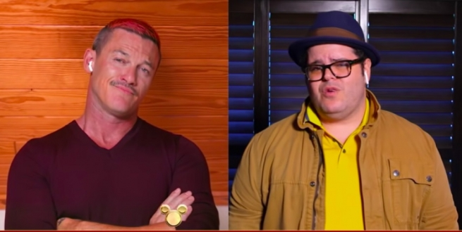 Luke Evans and Josh Gad in Disney