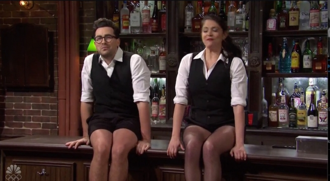 Dan Levy in dance shorts on Saturday Night LIve