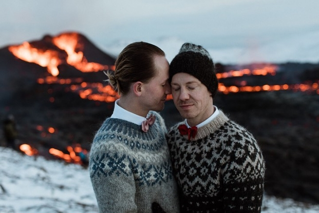 Gay couple in Iceland get married in front of a volcano.
