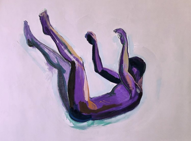 A sketch of a naked man falling on a pink background