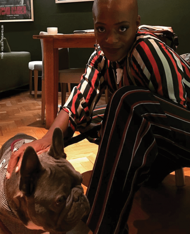 T'Nia Miller and dog