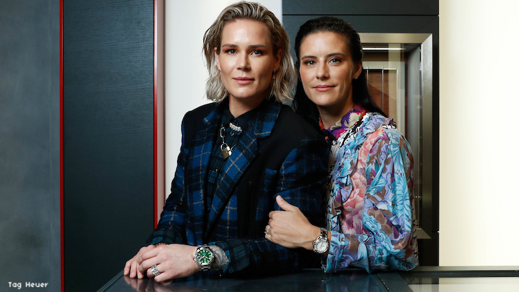 Ashlyn Harris and Ali Krieger at a Tag Heuer store.