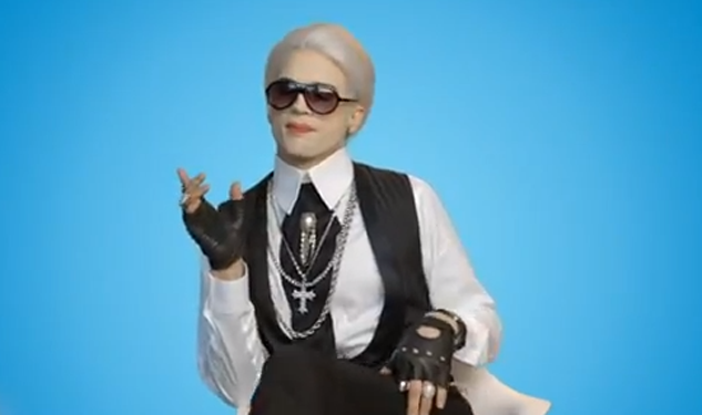 Video: Ashton Kutcher Does a Mean Karl Lagerfeld Impersonation
