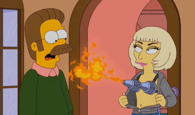 Lady Gaga Wears a Flame Throwing Bra on 'The Simpsons'