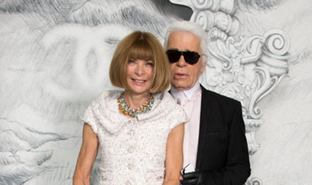 Pic of the Day: Karl Lagerfeld Whispers Something in Anna Wintour's Ear, She Giggles in Response