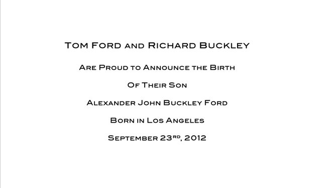 Tom Ford & Richard Buckley Are Fathers!