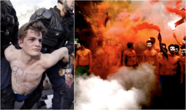 WATCH: Anti-Gay Male French Protesters Strip