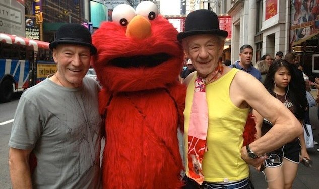 BEST THING EVER: Sirs Ian McKellen & Patrick Stewart & Elmo in Times Square