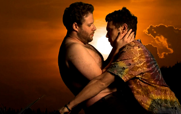 "Seth Rogen And James Franco Make Out In Remake Of Kanye West's ""Bound 2"" Video"