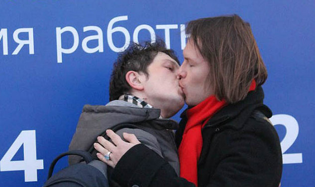 Russian LGBT Activists Stage Gay Kiss-In at IKEA