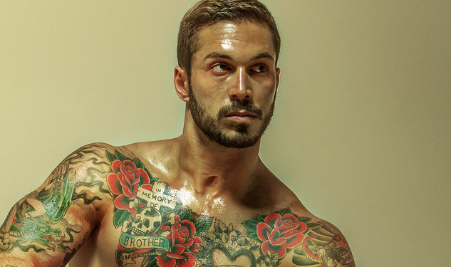 Alex Minsky, Mr. Leather Pose for THG Campaign
