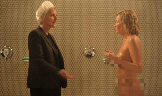 Chelsea Handler & Ellen Have an Awkward Naked Shower Fight