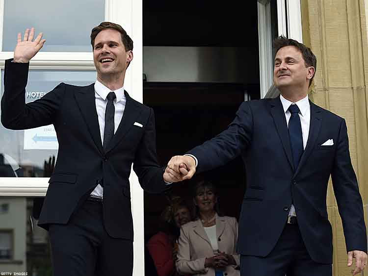 Luxembourg's prime minister Xavier Bettel and husband Gauthier Destenay