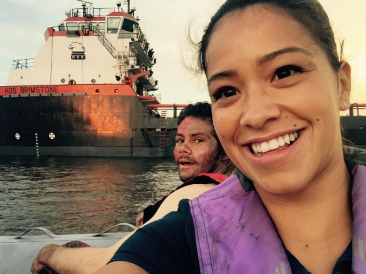 Gina Rodriguez on the set of Deepwater Horizon