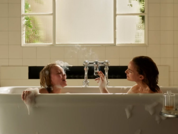 natalie portman and lilyrose depp share a bath in first