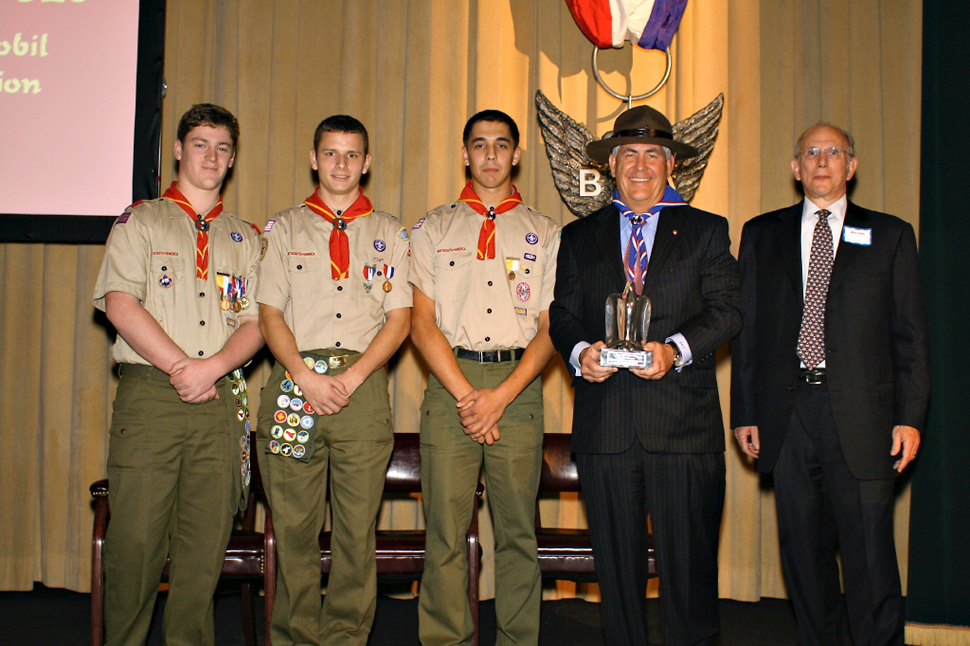 Former ExxonMobil Chairman and CEO RexTillerson being inducted into the BSA Eagle Scout Hall of Fame in 2009