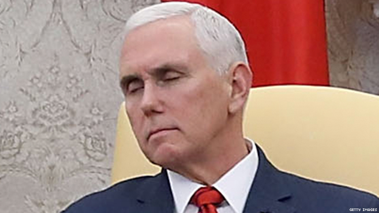 Image result for pence sleeping