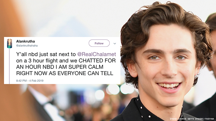 Some Girl Sat Next to My Husband, Timothée Chalamet, on a Plane