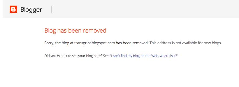 Transgriot Blog Removed