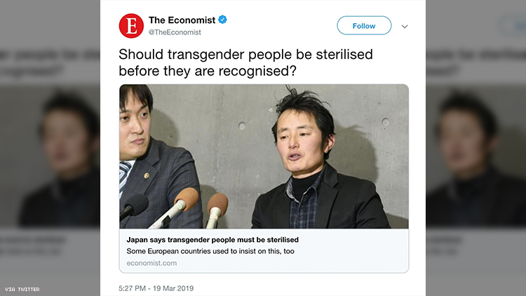 The Economist says deleted tweet asking if transgender people should be sterilized was a mistake.