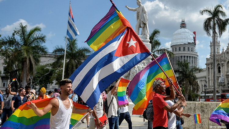 LGBTQ+ activists organize pride parade after Cuban government cancels annual conga against homophobia.