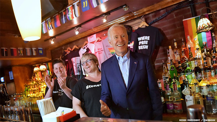 Joe Biden pays surprise visit to Stonewall Inn.