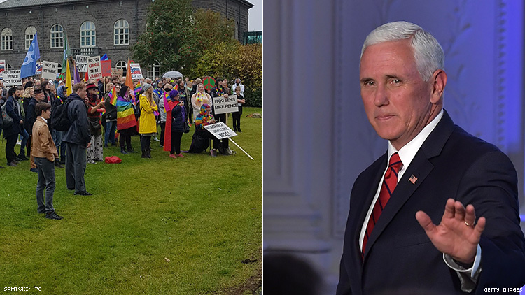 'Pence Is S**t': LGBTQ+ Groups Protest Veep's Visit to Iceland
