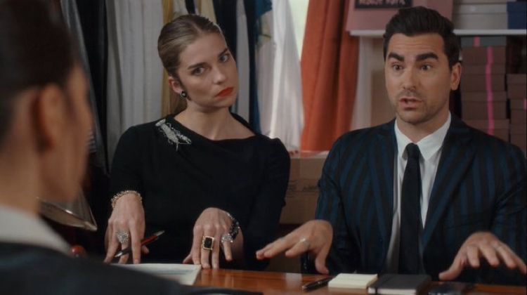David Rose and Alexis in Schitt's Creek.