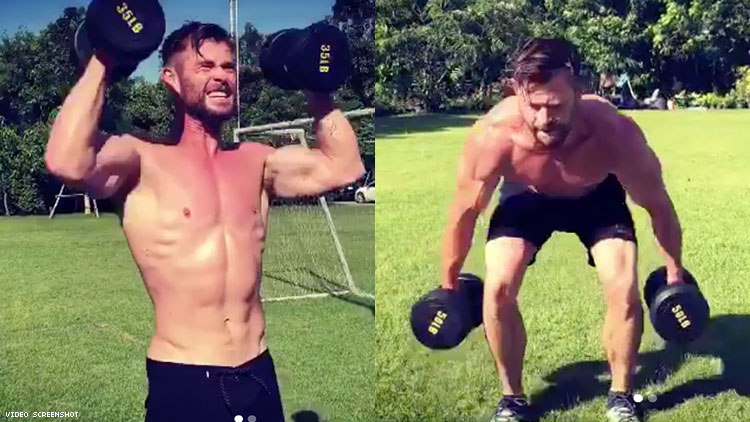 Chris Hemsworth working out