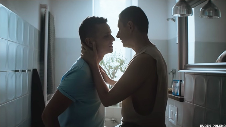 Gay Polish YouTubers Jakub and Dawid Mycek-Kwiecinski make history when they are the first LGBTQ+ couple to get intimate on a TV commercial in Poland.