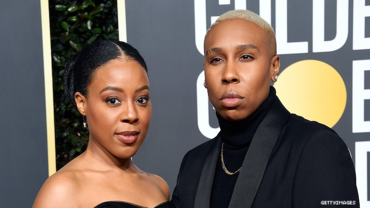 Lena Waithe and longtime girlfriend, now wife, at Golden Globes.
