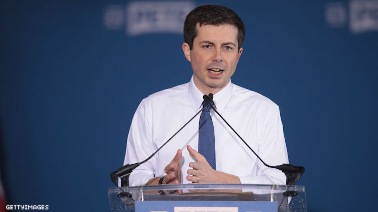Pete Buttigieg giving a speech.