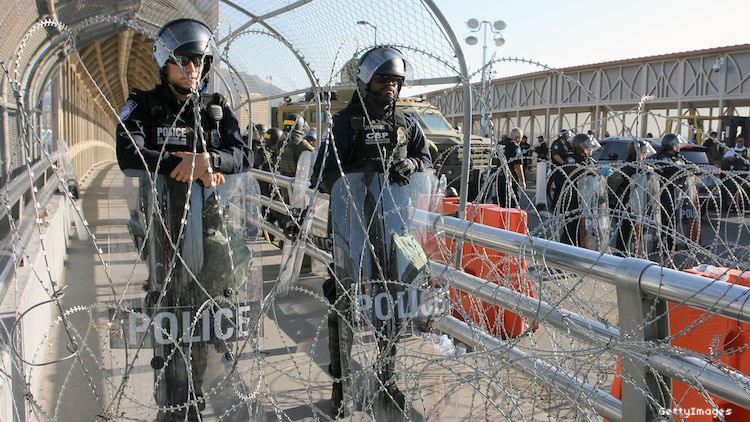US Customs and Border Protection Office (CBP) agents and Border Patrol agents participate in an operative to find illegal migrants at the International Bridge Paso del Norte-Santa Fe in Ciudad Juarez, Chihuahua State, Mexico on July 1, 2019.