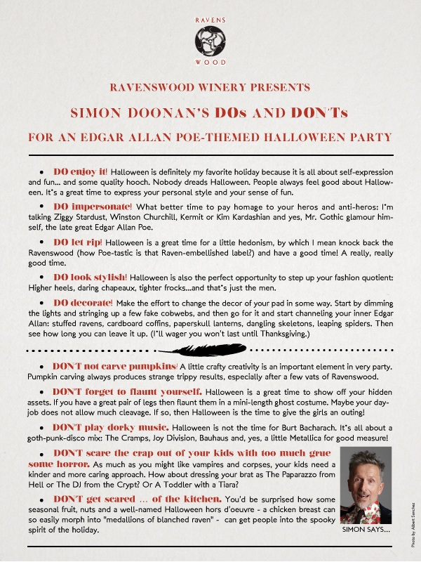 Simon Doonan Tips Poe Themed Halloween