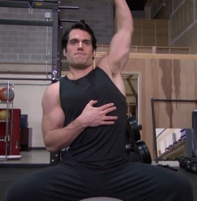 Henry Cavill Shirtless Man Of Steel Workout Lift9