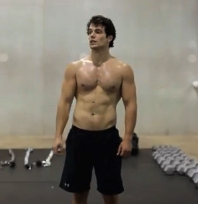 Henry Cavill Shirtless Man Of Steel Workout Stand5