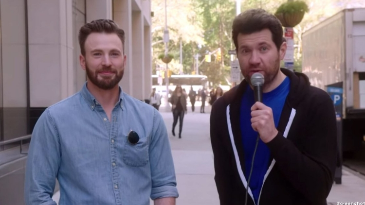 Watch Billy Eichner and Chris Evans Run Around NYC With Lesbian Posse