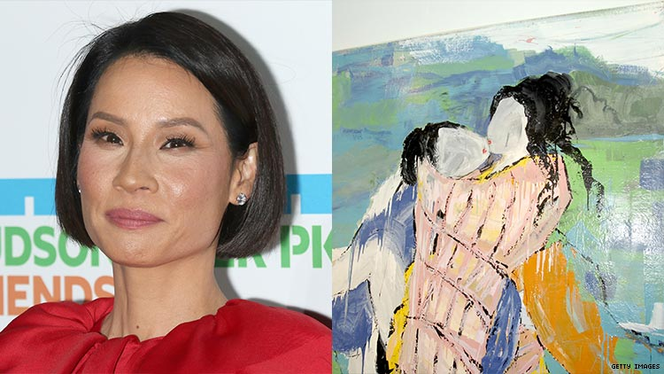 Lucy Liu and a painting