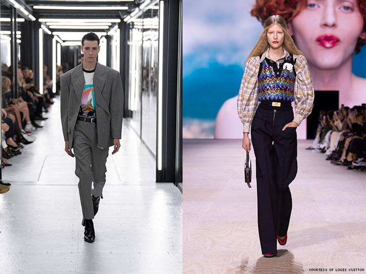 Two diptychs of images from the Louis Vuitton show.