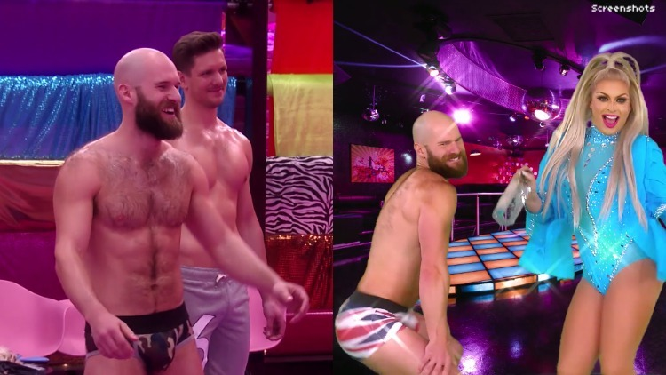 Shirtless hairy guy twerking and also in a speedo.