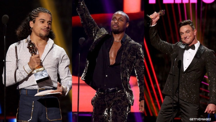 A triptych of porn stars at the GayVN 2020 Awards.