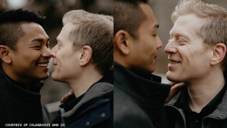Anthony Rapp and his fiance in their engagement photos.