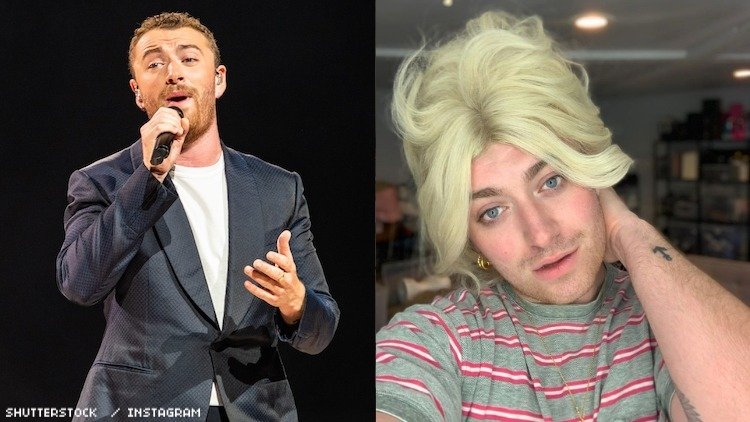 Sam Smith on stage and Sam Smith in a wig.