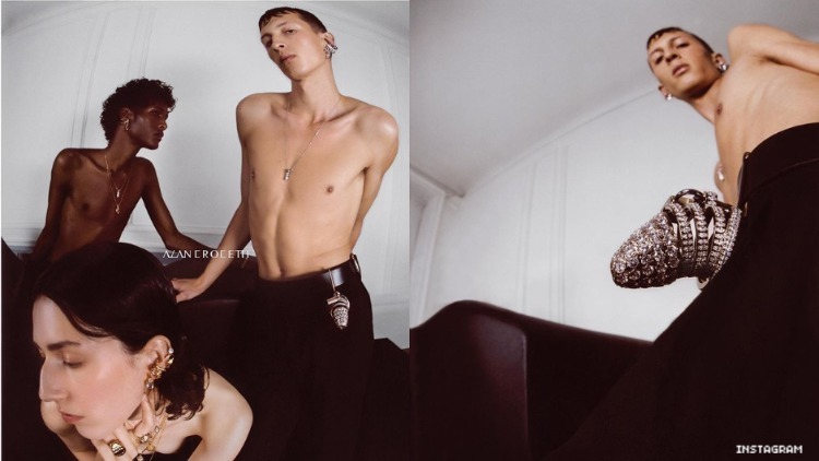 Diptych of a fashion advertisement.