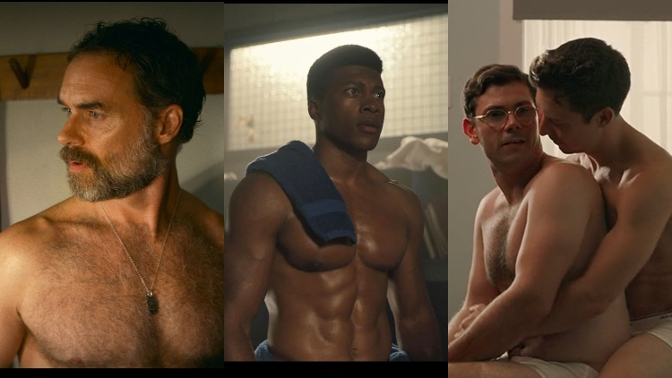 A triptych of shirtless guys from TV and film.
